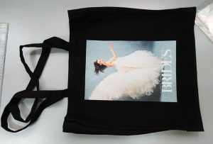 İngiltere'den siyah numune çantası, dtg tekstil yazıcı tarafından basıldı