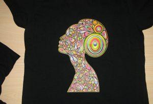 Siyah t-shirt baskı örneği A2 t-shirt yazıcı WER-D4880T