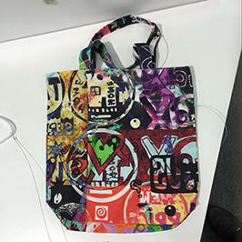 A1 dijital tekstil yazıcı WER-EP6090T tarafından dokunmamış çanta baskı örneği